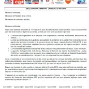 Déclaration CGT-FA-Avenir Secours-CFDT-CFTC-UNSA-FO à la CNSIS du 22 mai 2019